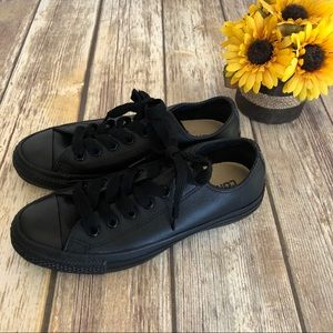 Converse. All black leather All Stars. Size 7